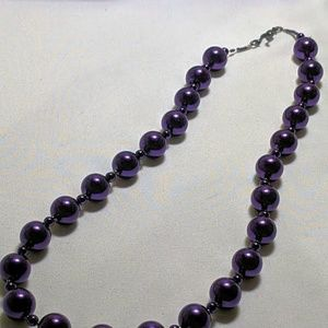 Purple Stand of Round Beads Necklace